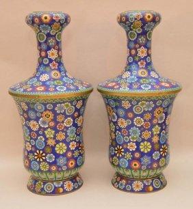 """Pair Cloisonné Vases, 12 1/2""""h"""