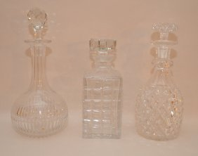 3 Odd Crystal Decanters