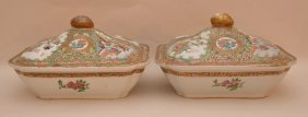 Pair Two 19th C. Chinese Rose Medallion Covered Bowls,