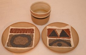 """Pair Italian """"gambone"""" Pottery Wall Plaques (plaque Has"""