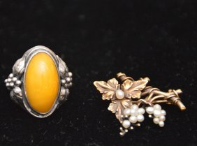 Sterling And Yellow Stone Ring With A Victorian Seed