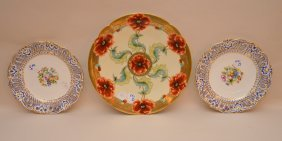 """Large Hand Painted Limoges Poppy Plate (12 1/2"""") And"""