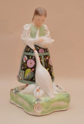 """Herend Goose Girl, 8""""h"""