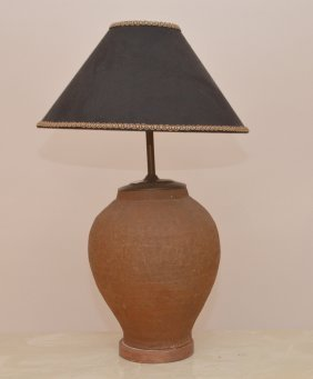 Terra Cotta Vase Form Lamp With Custom Shade