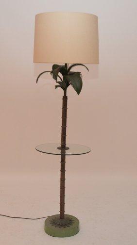 "Floor Lamp, Palm Tree Motif, 53""h"