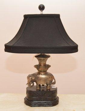 "Elephant Form Lamp With Custom Shade, 24""h"