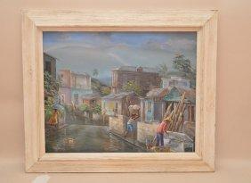 20th Century Haitian Oil On Canvas, Village Scene,