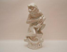 "Large Kpm Porcelain Monkey Figure. Ht 17"""