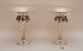 "Pair Jensen Style Sterling Compotes. Ht. 6 3/8"" Dia. 6"