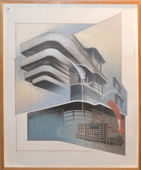 "Richard Davies Silkscreen ""governor Building Miami"