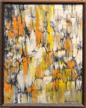 """Marion Riseman, American 1928- 2010, """"abstract In Five"""