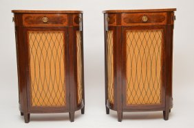 Pair 19th C. Demi Lune Sheraton Mahogany Cabinets With