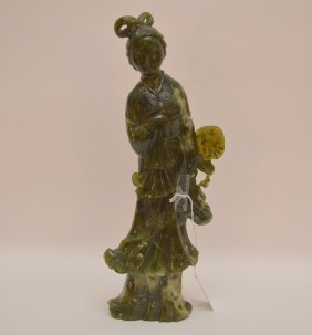 Carved Spinach Jade Quan Yin. Ht. 12 1/2""