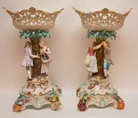 Pair Meissen Porcelain Compotes. Each With Figural