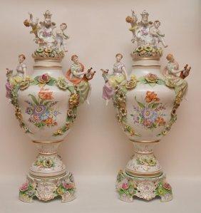 "Pair German Porcelain Figural Urns & Covers. Ht. 31"""