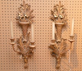 Pair Carved Giltwood Two Light Sconces. Ht. 25""