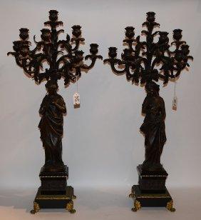 Pair 19th Century Bronze 8 Light Candelabra. Ht. 31