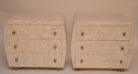 Pair Faux Stone 3 Drawer Chests, Reeded Silvered Knobs