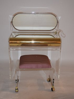 Modern Lucite And Brass Ladies Mirrored Vanity With