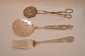 (3) Serving Pieces, Sterling Fork, Tomato Server