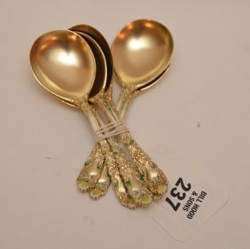 """6 """"renaissance"""" Enameled Spoons With Gold Wash, 4ozt"""