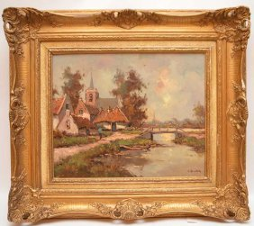 Cornelis Bouter (dutch, 1888-1966) Village Scene, Oil