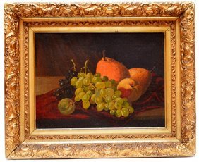 19th Century Illegibly Signed Oil On Canvas, Still Life