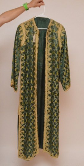 Green Silk Coat With Gold Embroidery