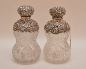 "Pair English Cut Glass Perfumes With Sterling, 7""h"