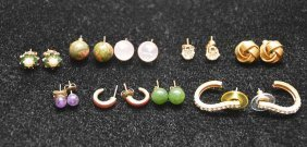 9 Pairs Of Assorted Earrings, Incl; Pearls With