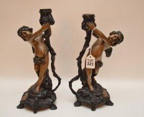 """Pair Bronze Figural Angel Candlesticks. Ht. 21"""""""