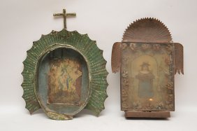 2 Vintage Tin Framed Religious Pictures