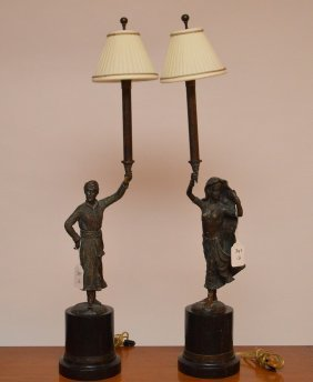 """Pair Of Bronze Figural Lamps On Marble Bases, 36""""h"""