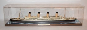 "Titanic Ship Model, 28""l, Case 30 3/4""l, Wood"
