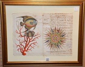 18th Century Italian Hand Decorated Manuscript, Coral,
