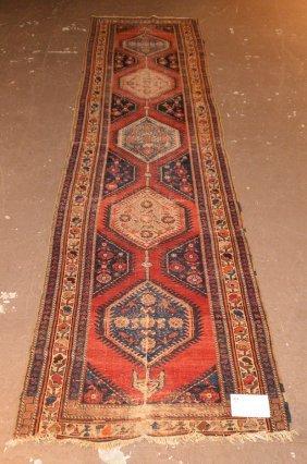 Runner, Caucasian Carpet, 5 Medallions In Center, Red
