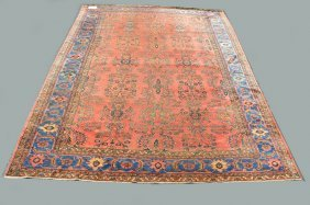 Carpet, 5 Row Border, Persian Rug, Red Field With Blue