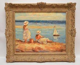 Claude Marie Bufort Beach Scene, Oil On Canvas On