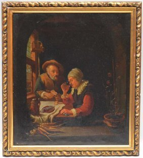 Dutch School, 18th Century, Interior Scene With Elderly