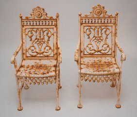 Pair Victorian Cast Iron Arm Chairs