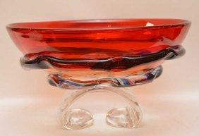 Murano Glass Center Bowl, Signed Formia