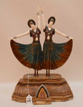 "Bronze Sculpture, """"two Dancers"""", 19""""h"