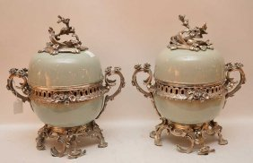 "Pair Silvered Bronze And Porcelain Urns, 15""""h"