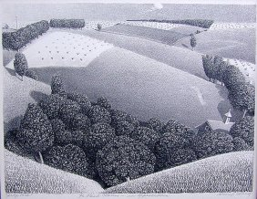 Grant Wood (amer 1891-1942) 'july 15th 1938' Lithograph
