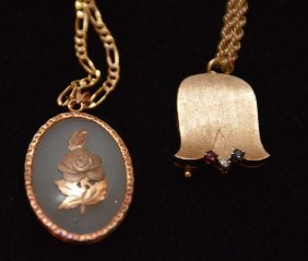 Two 14kt Pendant Necklaces With Chains