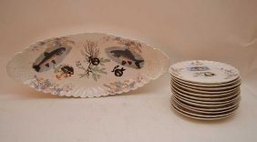 Porcelain Fish Set, Oval Platter With 12 Matching
