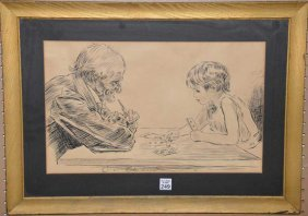 Charles Gibson (american 1867 - 1944) Pen & Ink Card