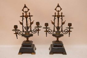 Pair Gothic Revival Bronze And Slate Footed Candelabra,