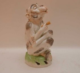 Dresden Porcelain Seated Monkey (pipe Handle As Is)
