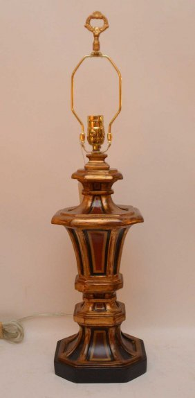 Italian Ceramic Polychrome Lamp Base With Gilt And Hand
